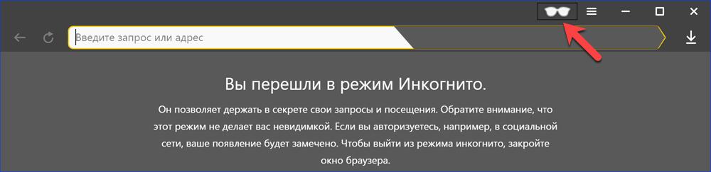 Яндекс.Браузер в режиме инкогнито