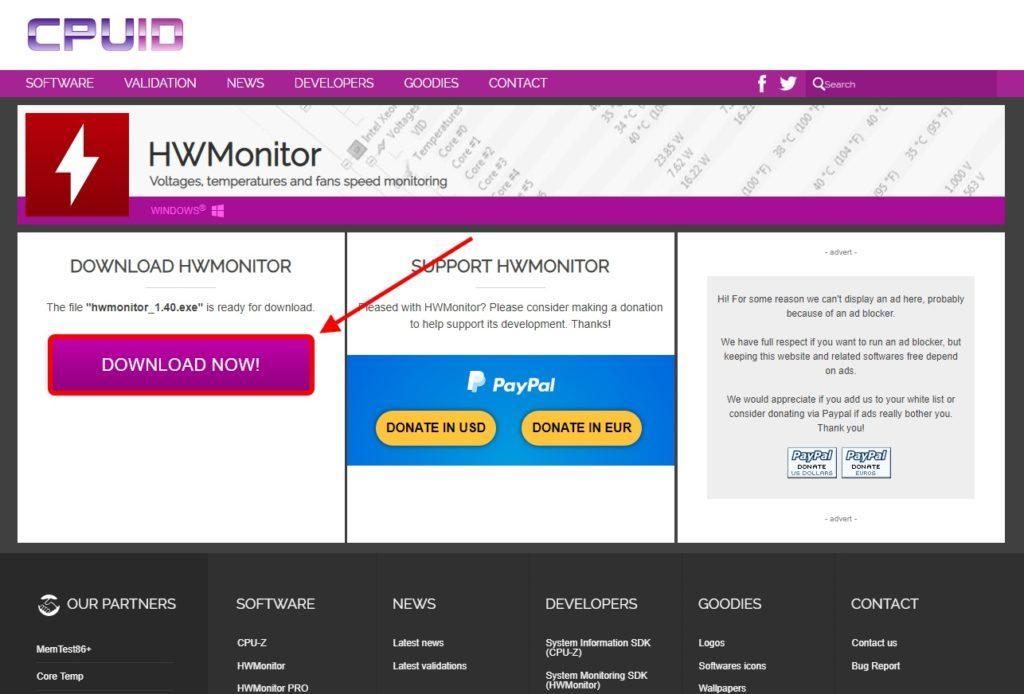 Скачать HWMonitor с официального сайта