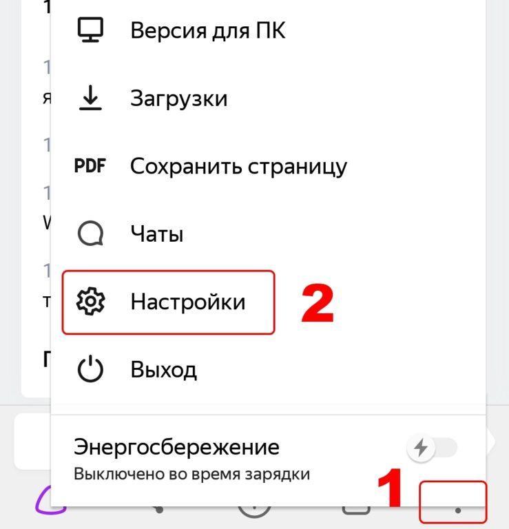 Открытие настроек в мобильном Яндекс браузере