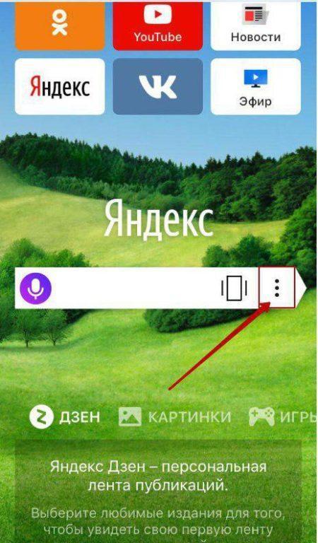 Открыть меню в Яндекс Браузере на iOS можно тем же путем