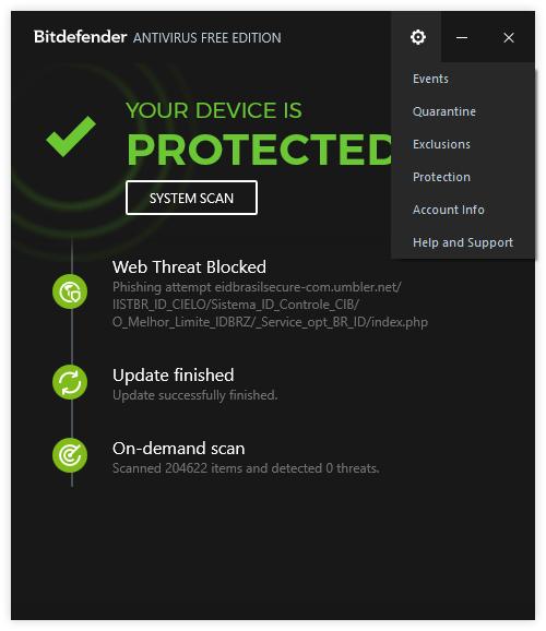 бесплатный антивирусник Bitdefender Antivirus Free Edition