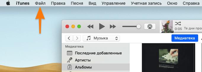 файл в панели инструментов itunes macos