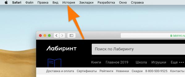 Панели инструментов браузера Safari в macOS