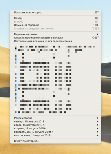 Список опций в меню «История» браузера Safari