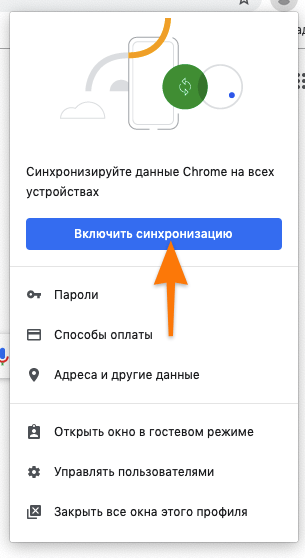 Окно настройки синхронизации в браузере Google Chrome