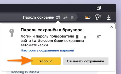 Сообщение, оповещающее о том, что Яндекс.Браузер сохранил пароль