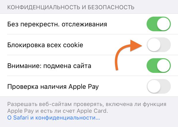 Блок «Конфиденциальность и безопасность» в настройках браузера Safari на Айфоне
