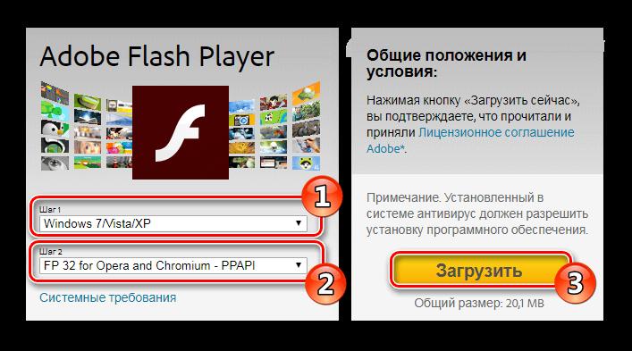 Настройки загрузки Flash Player