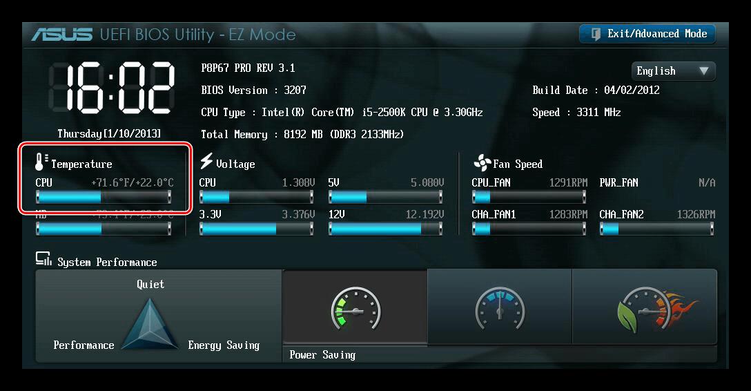 Температура процессора UEFI BIOS