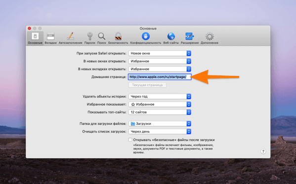 Основные параметры браузера Safari в macOS