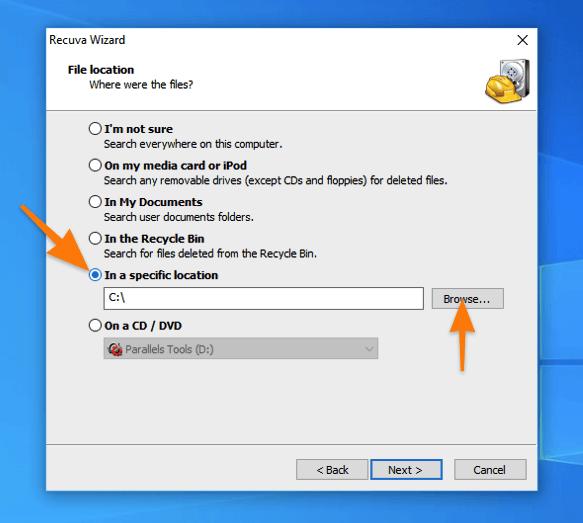 Окно настройки поиска удаленных файлов в программе Recuva