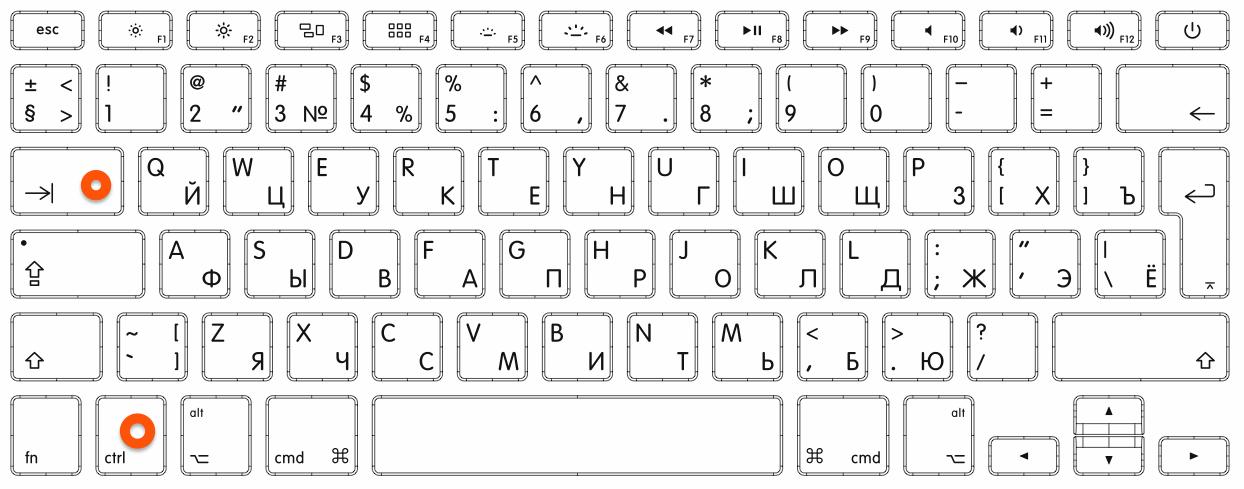 Клавиатура ноутбука с отмеченными клавишами **Ctrl** + **Tab**