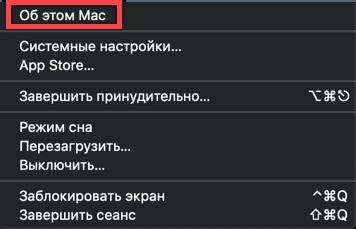 Сведения о системе в основном меню верхней панели macOS