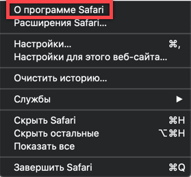 Меню браузера Safari