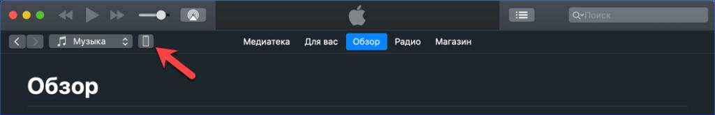 Верхняя панель iTunes