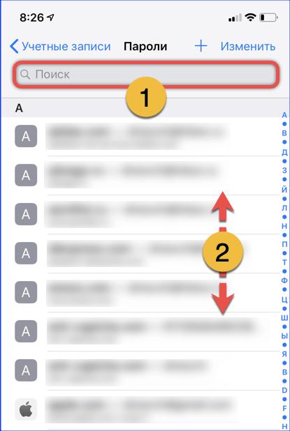 Страница iOS со списком паролей