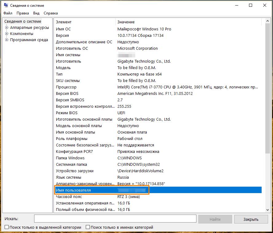 Окно приложения «Сведения о системе» в Windows 10