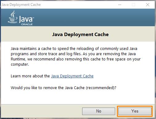 Удаление кэша Java в программе «Java Uninstall Tool»