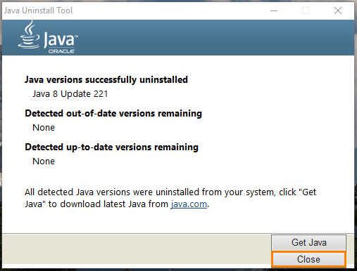 Удаление Java в программе «Java Uninstall Tool» завершено