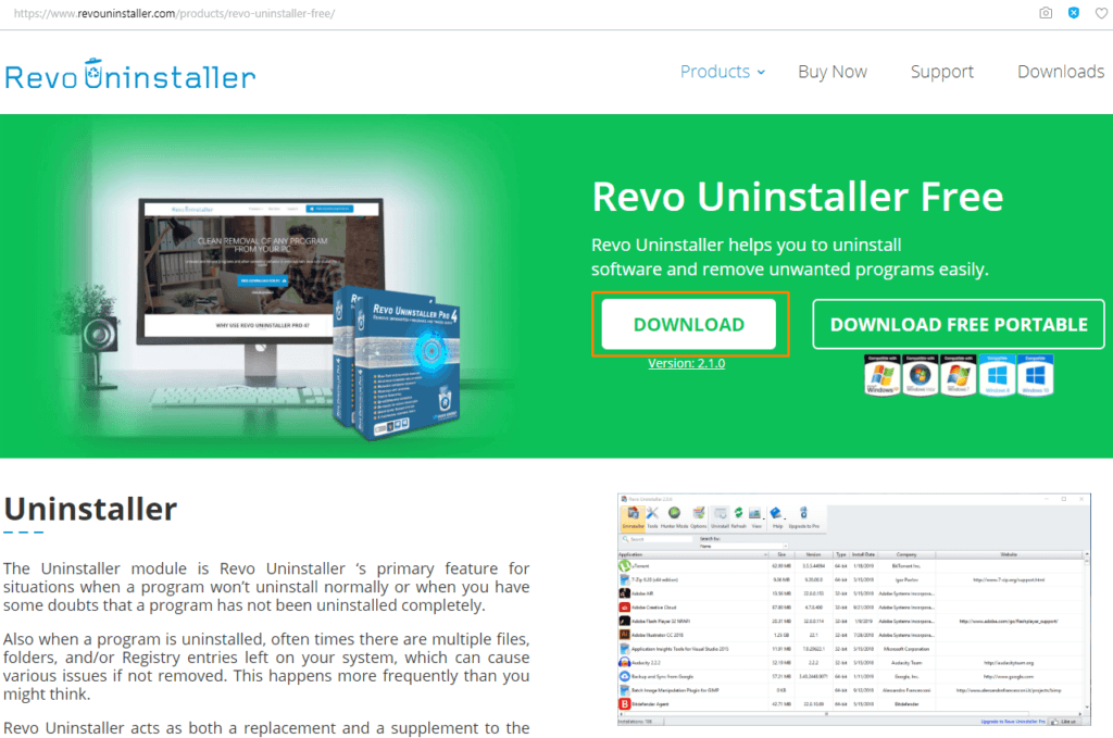 Страница загрузки программы «Revo Uninstaller Free»