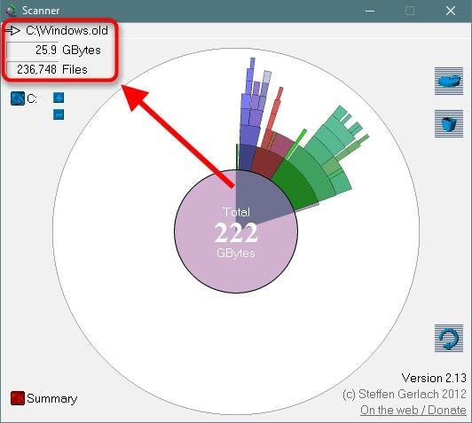 Как освободить место на жестком диске С через программу Scanner