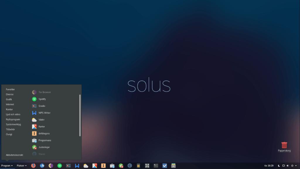 Рабочий стол в версии Solus ОС Linux