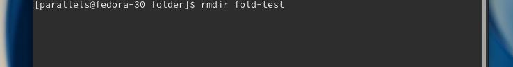 Команда rmdir fold-test, введення в терминал дистрибутива Fedora