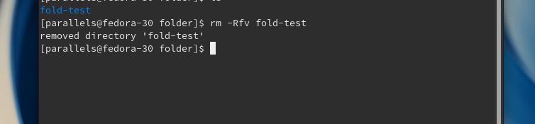 Вывод команды rm -Rfv fold-test в терминале дистрибутива Fedora