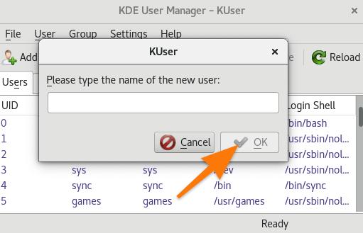 Поле для ввода имени пользователя KDE USER MANAGER
