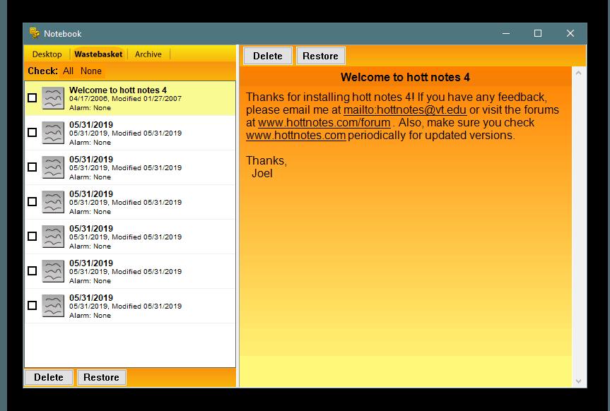 Дополнительные параметры работы Hott Notes