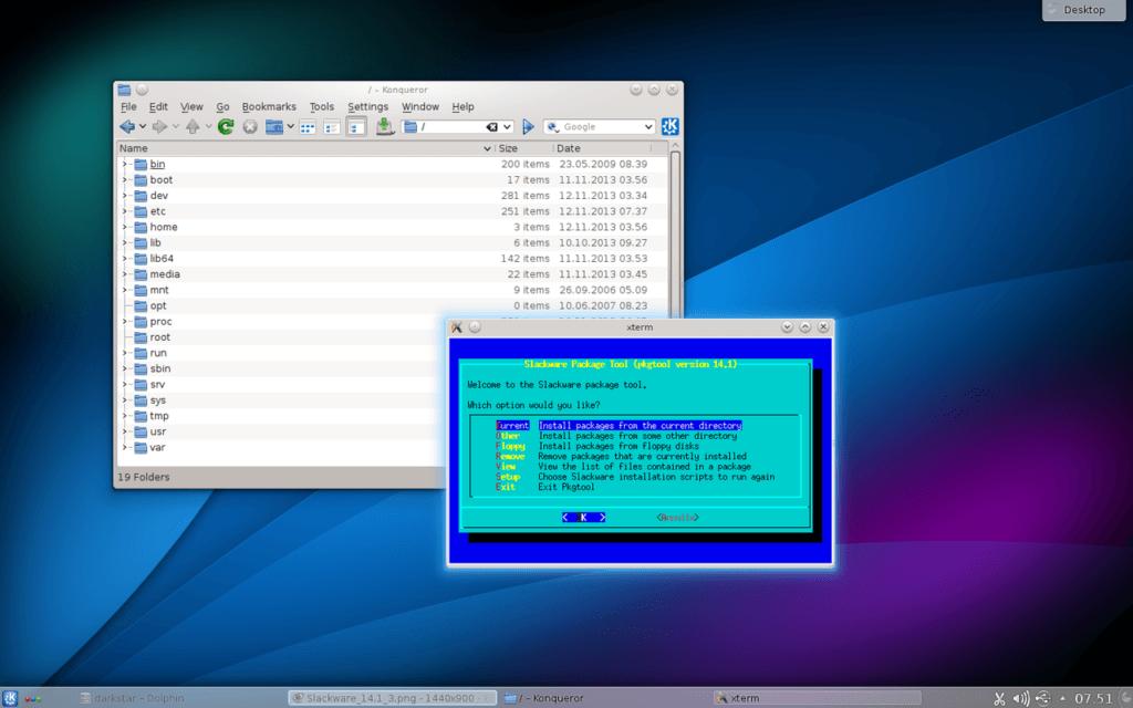 Рабочий стол KDE в Slackware