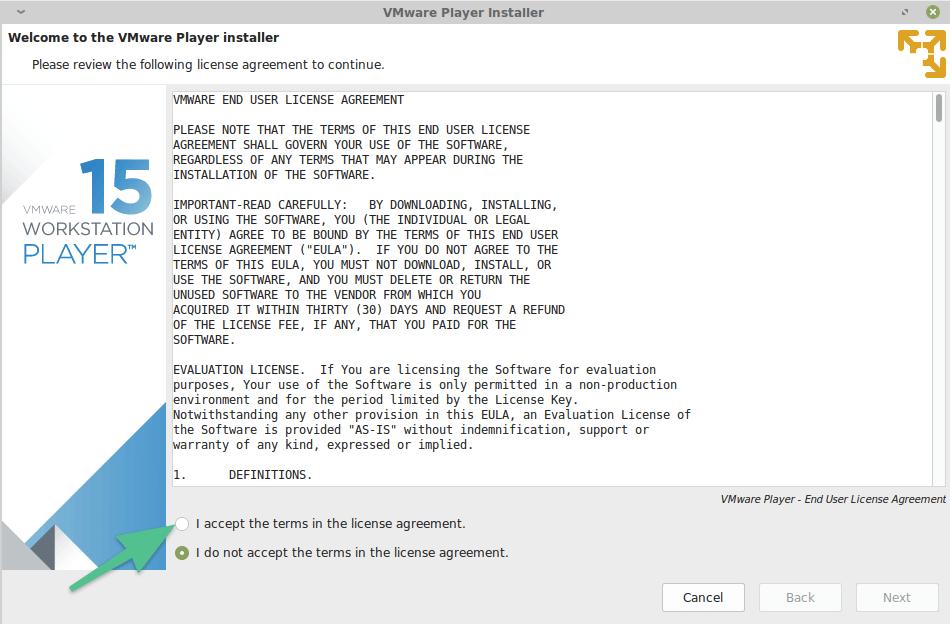 Стартовый экран установщика VMware