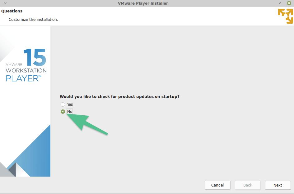 Запрос на автоматическую установку обновлений в VMware