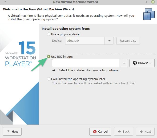 Окно выбора ISO-образа системы в VMware