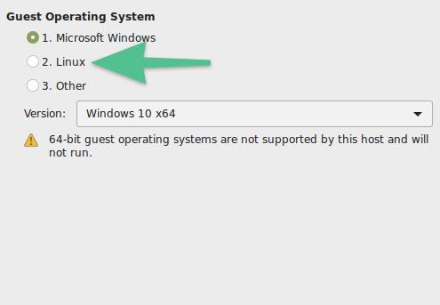 Окно выбора системы для установки в VMware