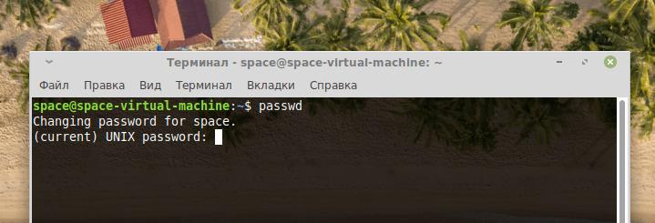 Запрос на ввод актуального пароля от утилиты passwd