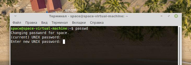 Запрос на ввод нового пароля от утилиты passwd