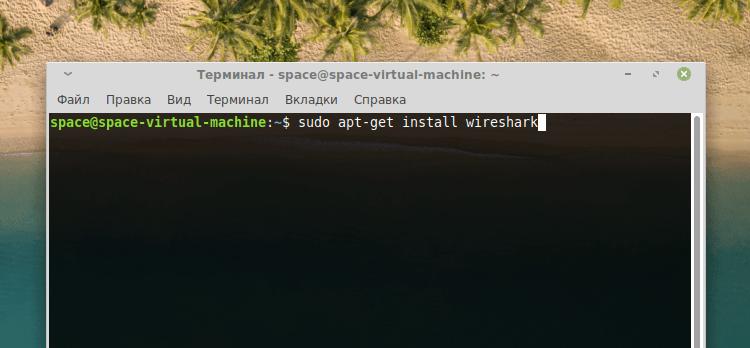 Команда установки wireshark в Linux Mint