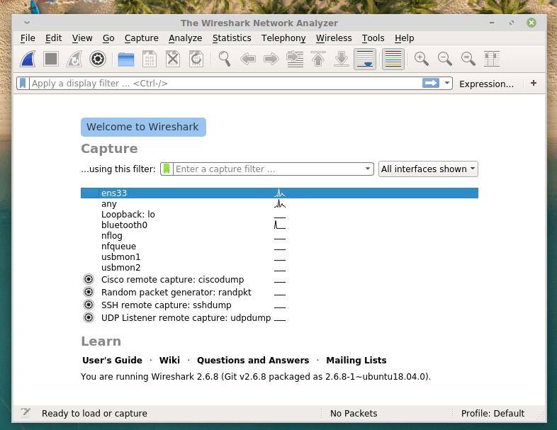 Главное окно Wireshark с выбором подключения