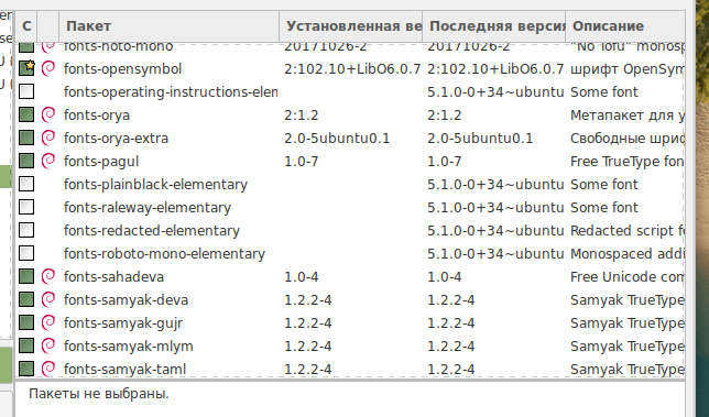 Список доступных шрифтов в Synaptic