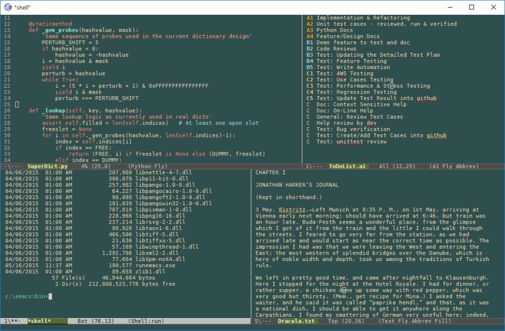 Интерфейс программы Emacs
