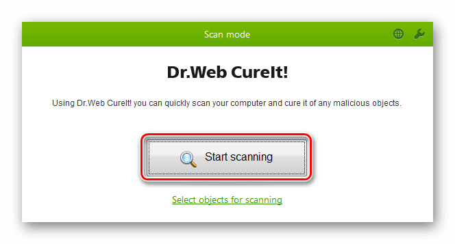 Интерфейс Dr. Web CureIt