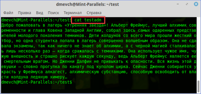 Просмотр текстового файла командой «cat»