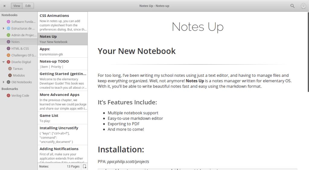 Интерфейс программы Notes UP в Elementary OS