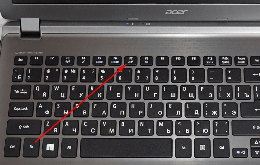 Кнопка включения и выключения тачпада на клавиатуре