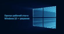 Пропал рабочий стол в Windows 10 — решения
