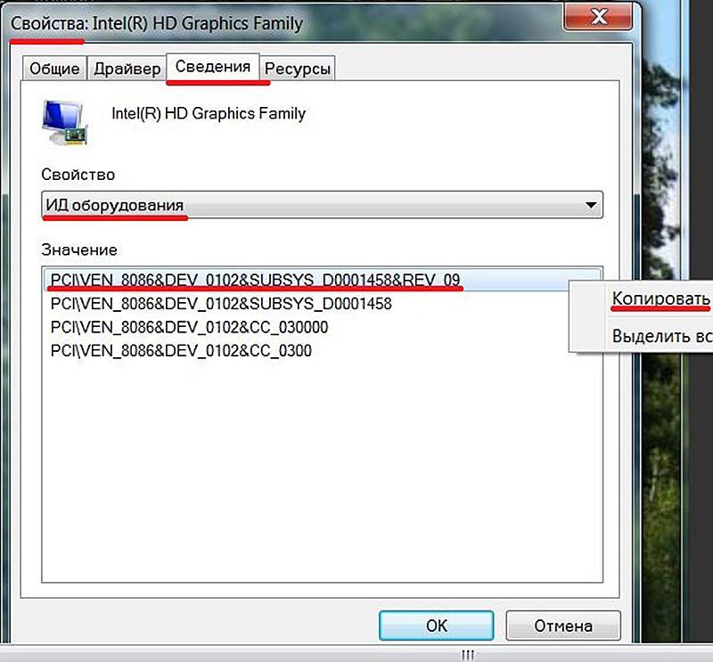 Копирование кода для последующего поиска видеокарты и её драйверов