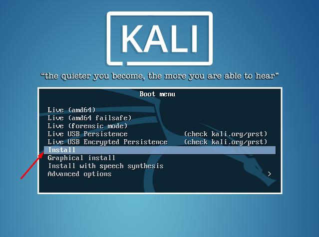 Начало установки Kali Linux