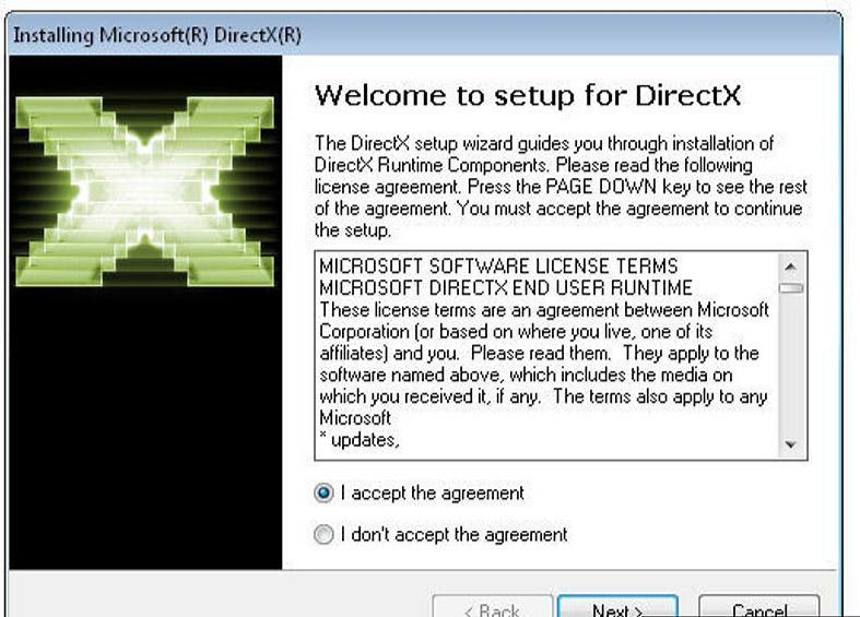 Окно установки DirectX