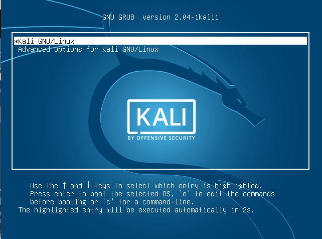 Переход к GRUB для загрузки Kali